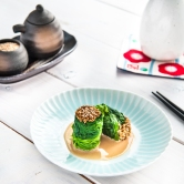 Spinach Turrets with Sesame Dressing